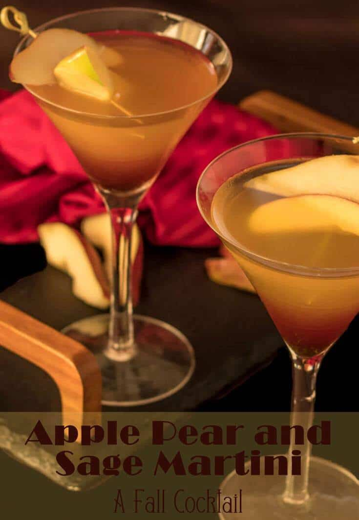 Flavors of autumn fruit - apple and pear - infuse the gin in this off-dry Apple Pear and Sage Martini. Absinthe, dry vermouth, aromatic bitters, and muddled fresh sage complete this delightfully different cocktail... perfect with your holiday meal! #fallcocktails #gincocktails #martinis #fallmartinis #appleinfusedgin #Thanksgivingcocktails #cocktailrecipes
