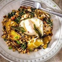 Kale and Roasted Beet Farro With Sage and Hazelnuts