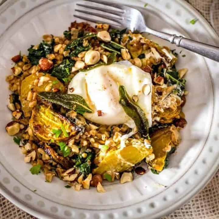 Kale and Roasted Beet Farro with Sage and Hazelnuts square feature image.