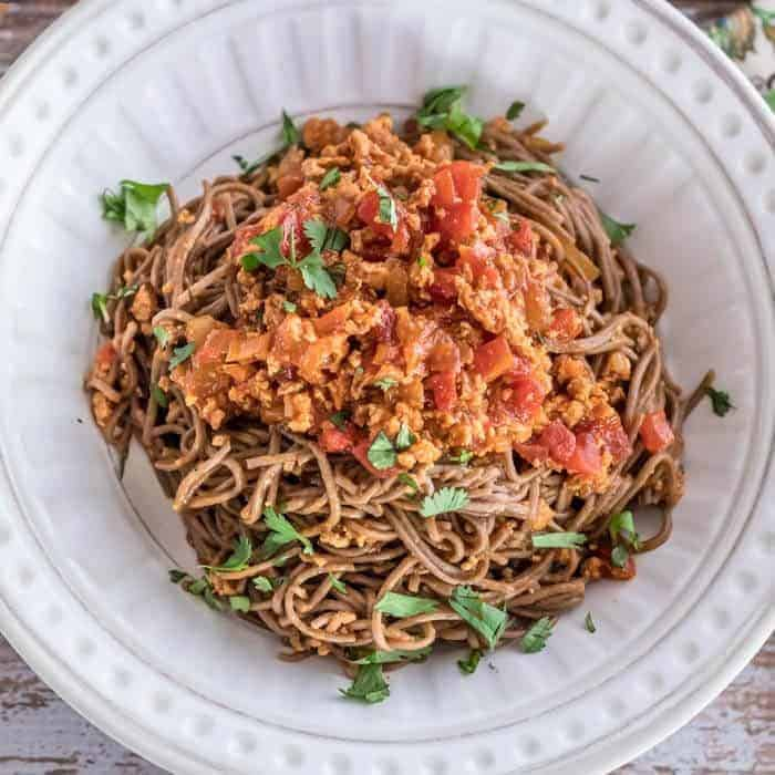 Spicy Gochujang Spaghetti and Meat Sauce