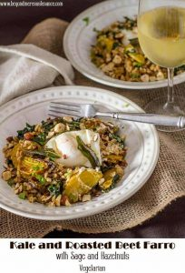 Looking for a new one dish meal to shake things up a bit? Kale and Roasted Beet Farro with Sage and Hazelnuts is perfect for #meatlessmonday or anytime you're looking for a healthy, comforting, and flavorful vegetarian dish... Topped with a poached egg and drizzled with crispy sage browned butter, this dish may convince even the meat eaters in your life! #meatlessmonday #vegetarian #roastedbeets #farro #kale #cleaneating #weeknightcooking #vegetarianmaindish #maindishrecipes #fallrecipes