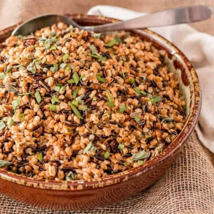 Instant Pot Farro and Wild Rice Pilaf red stoneware bowl with silver spoon.