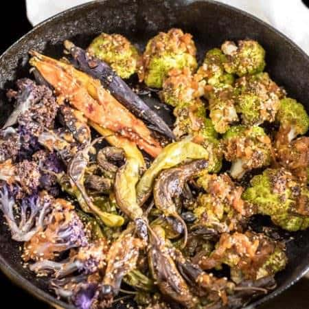 Asian Roasted Shishito Peppers With Cauliflower and Rainbow Carrots