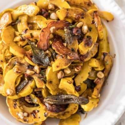 Roasted Delicata Squash With Apple Bourbon Sauce & Sage Browned Butter