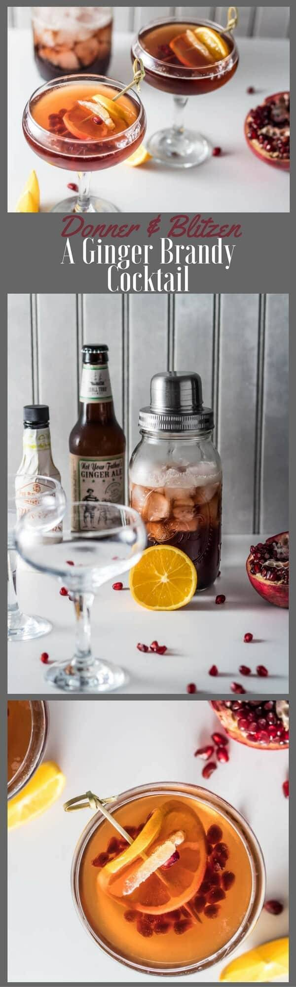 A festive time of year calls for a festive cocktail, right? Donner and Blitzen: A Ginger Brandy Cocktail makes a lovely addition to your holiday cocktail party... Combine ginger simple syrup, brandy, pomegranate molasses, and pomegranate juice with ice in your cocktail shaker, pour into your favorite glassware, top off with ginger beer, and a few shakes of orange bitters. Garnish with an orange slice, and crystallized ginger. Bellissimo! #pom #Fee #gingerbrandycocktail #wintercocktail #fallcocktail #Christmascocktail