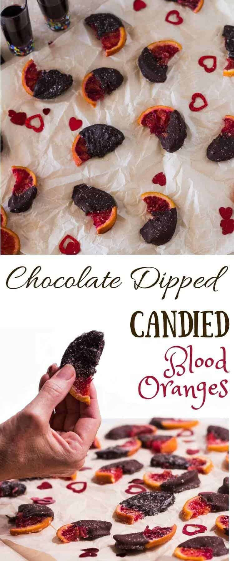 Chocolate Dipped Candied Blood Oranges - beautiful, rich, sweet, salty treat... perfect for your loved one on Valentine's Day! candied oranges   chocolate recipes   blood oranges   Valentine's Day treats