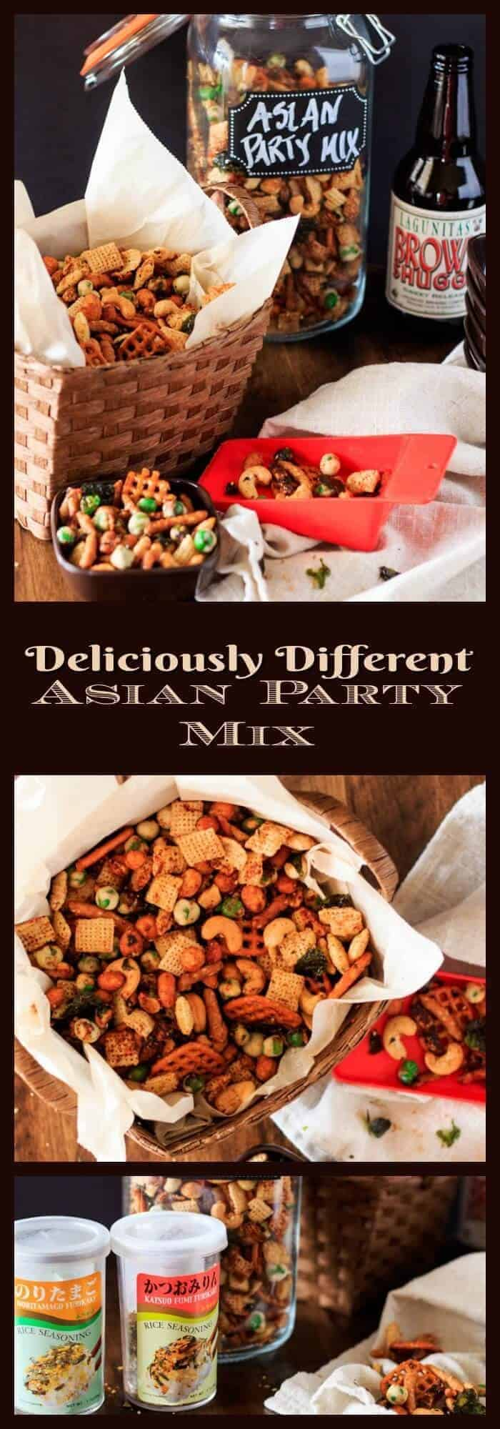 Asian Party Mix - Wasabi peas, sesame sticks, roasted cashews and honey roasted peanuts tossed with a sesame, ginger, and tamari sauce and sprinkled with furikake... Deliciously Different Asian Party Mix delivers umami, salty, savory, spicy, and a hint of sweet in one delicious handful!