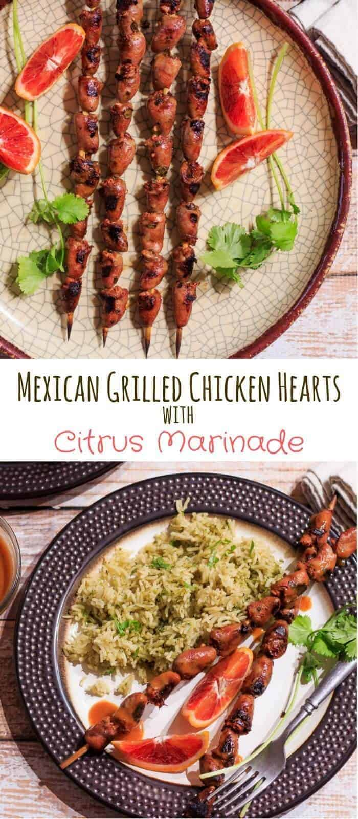 Mexican Grilled Chicken Hearts - A simple and delicious way to serve meaty, iron-rich hearts... Mexican Grilled Chicken Hearts With Citrus Marinade soaks in Mexican spices and orange, lime, and lemon juices, and spends only a few minutes on the grill! organ meats | chicken hearts | grilled hearts | healthy Mexican recipes