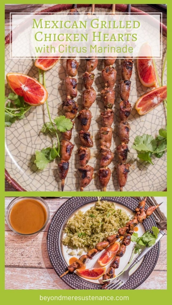 A collage Pinterest pin for Mexican Grilled Chicken Hearts with a platter of skewers and a prepared plate.