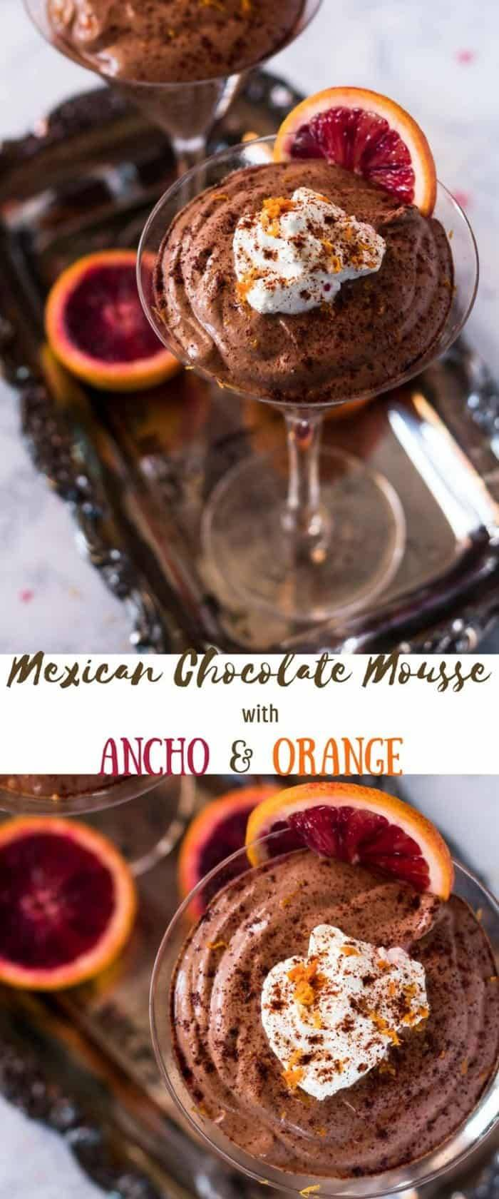 Mexican Chocolate Mousse in martini glasses with whipped cream on a silver tray.
