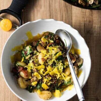 Arugula, Tomato, and Mushroom Gnocchi