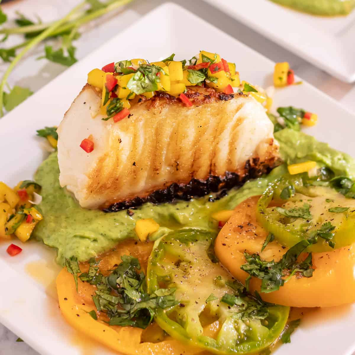 Mexican Grilled Sea Bass  with Avocado Crema and Mango Salsa on a white square plate very close up.