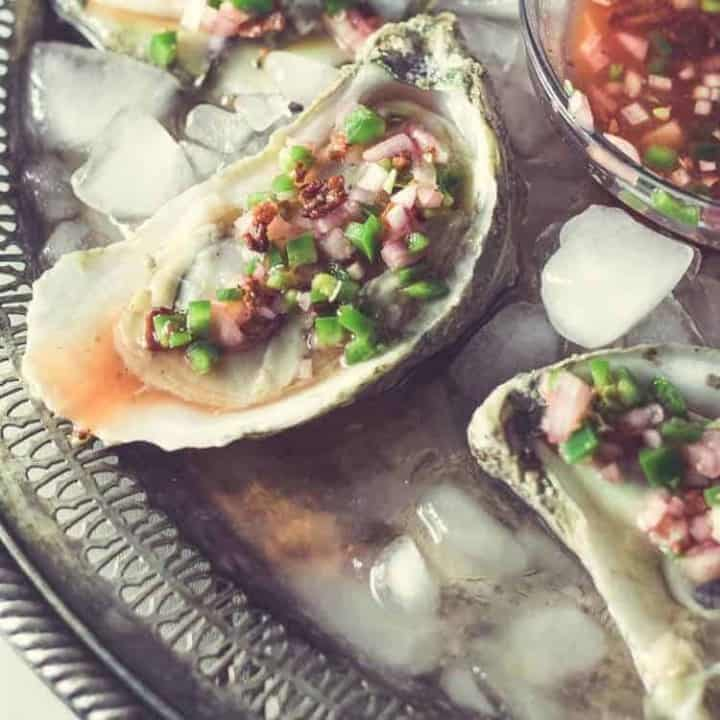 Oysters on the Half Shell With Bacon, Blood Orange, Jalapeno Mignonette