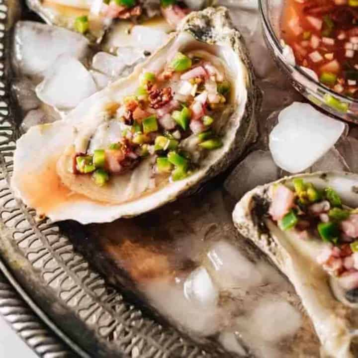 Oysters With Bacon, Blood Orange, Jalapeno Mignonette
