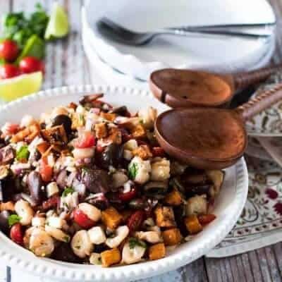 Roasted Sweet Potato and Giant Corn Peruvian Salad (Solterito)