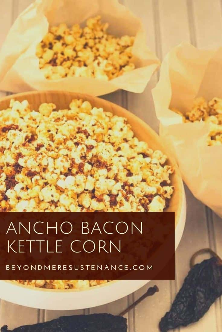 Popcorn and a movie? Kick it up a notch with Ancho Bacon Kettle Corn! With a hint of heat from ancho chile powder, crumbled bacon, and popcorn popped in the bacon drippings and confectioner's sugar, this gourmet popcorn will dance on your tongue... #popcornrecipes #popcornmonth #gourmetpopcornrecipes #anchobaconpopcorn #snackrecipes