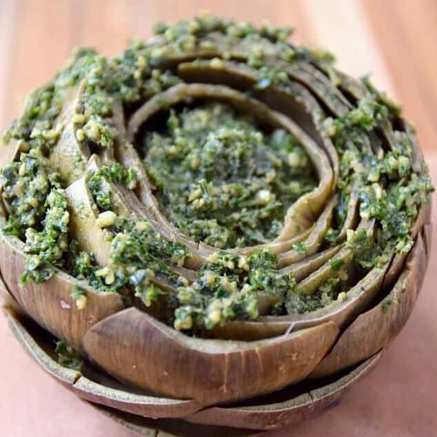 Anchovy Parsley Pesto Stuffed Artichoke