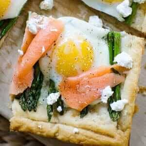 Asparagus and Egg Tart with Smoked Salmon