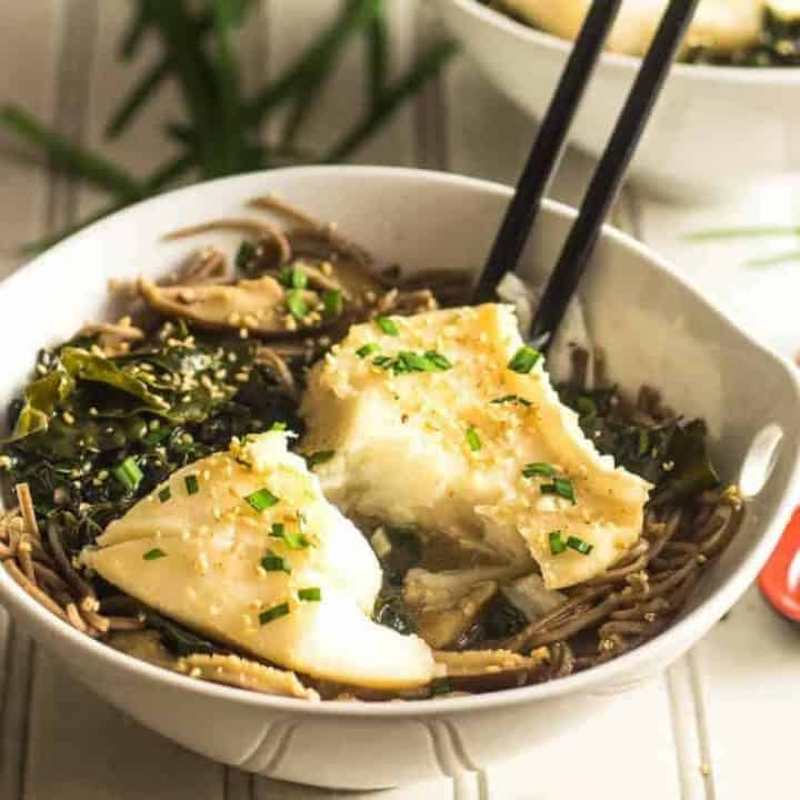 Ginger Mushroom Miso Poached Fish With Kale and Shiitake