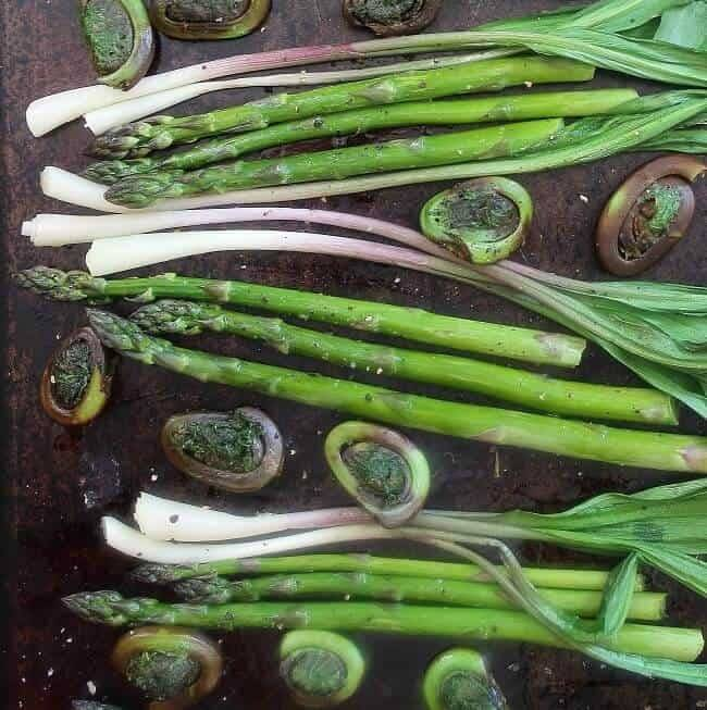 Roasted Asparagus Fiddleheads and Wild Leeks