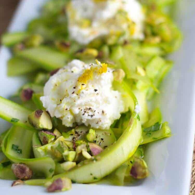 Shaved Asparagus Salad with Ricotta and Pistachios