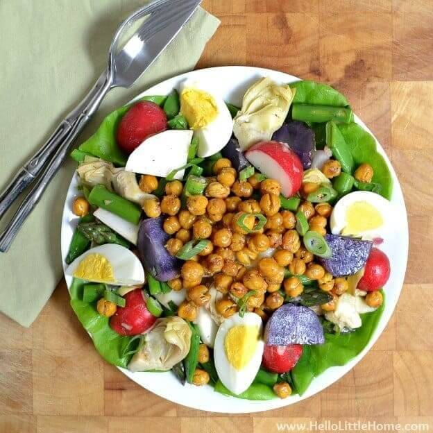 Spring Vegetable Salad with Lemon Basil Vinaigrette and Roasted Chick Peas