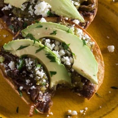 Vegetarian Tostadas with Black Beans and Nopalitos
