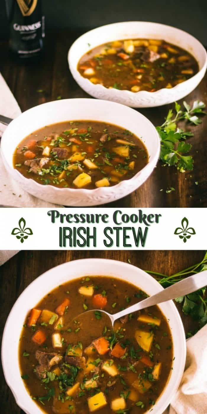 Pressure Cooker Irish Stew in 2 white bowls with a bottle of Guinness.