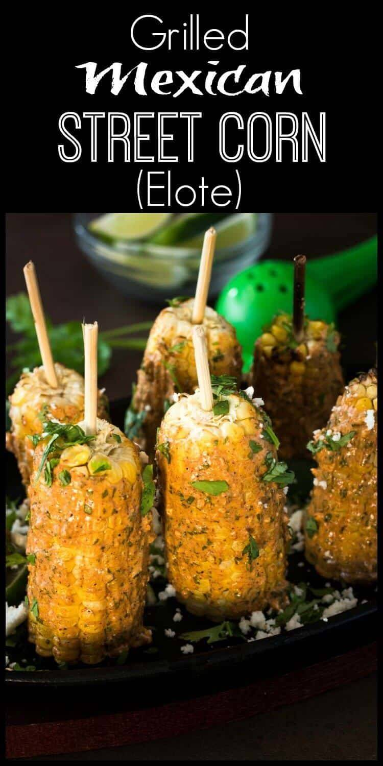 """Grilled Mexican Street Corn (Elote) - A creamy, yogurt/mayo based sauce with ancho, garlic, cilantro, lime, and cotija coats grilled corn, and """"kicks it up a notch!"""" elote   Mexican street corn   healthy Mexican   gluten free recipe"""