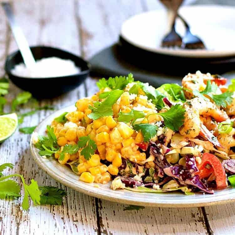 Mexican Street Corn Salad with Spicy Shrimp