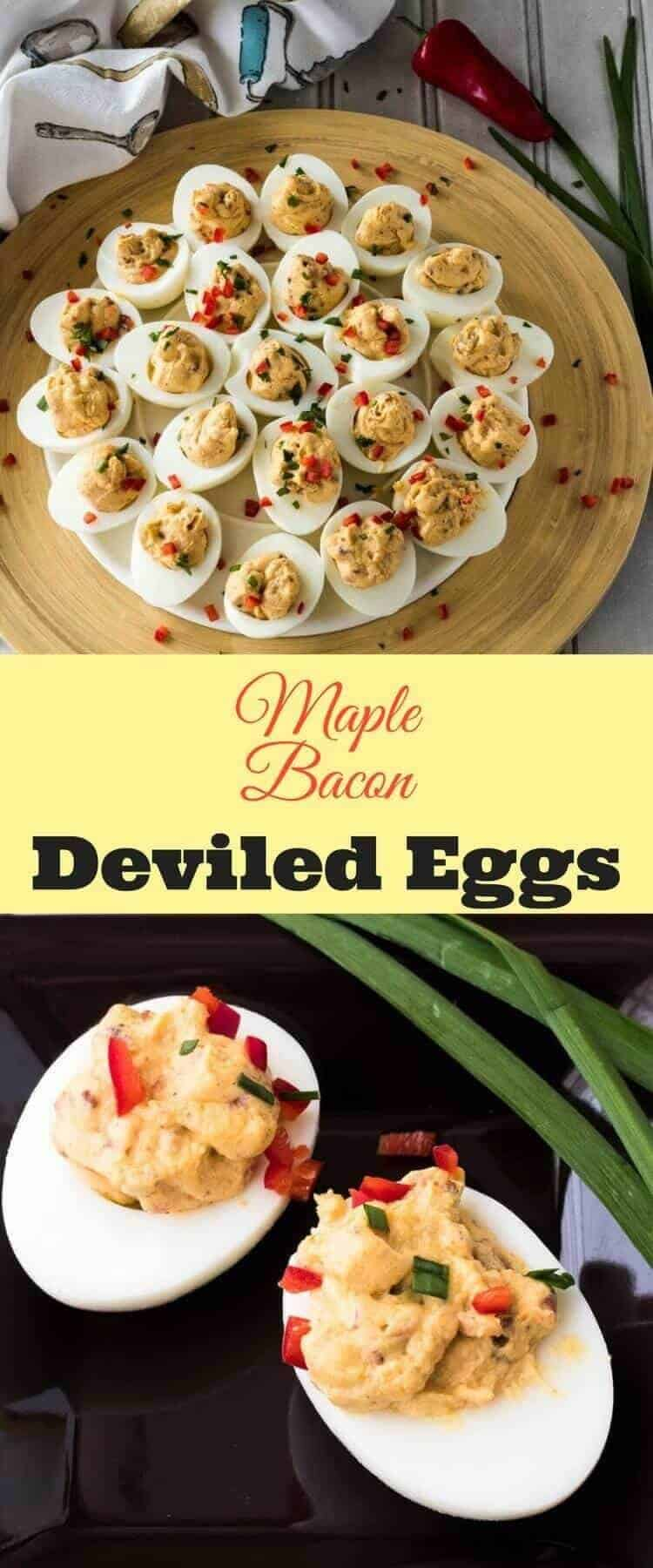 Maple Bacon Deviled Eggs - creamy, sweet, spicy, smoky... A twist on a beloved classic! deviled egg recipes | Easter recipes | eggs