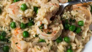 Spring Risotto with Shrimp Chèvre and English Peas Recipe
