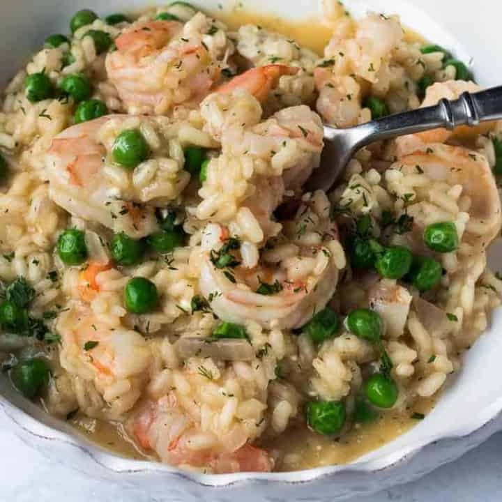 Spring Risotto with Shrimp, Chèvre and English Peas
