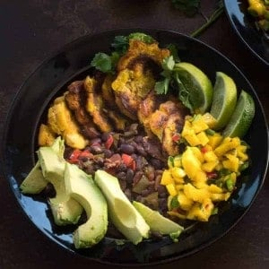 Tropical Buddha Bowl with Plantains, Black Beans, and Mango Salsa