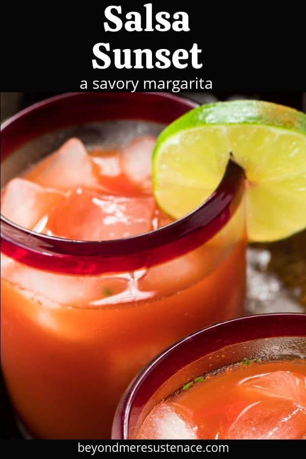 2 Savory Margaritas with a lime slice.