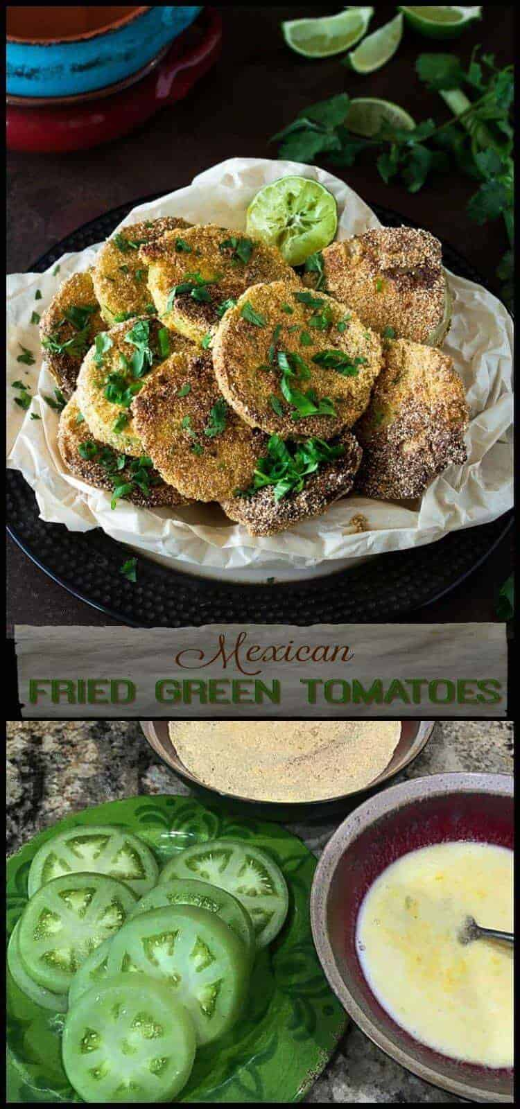 Mexican Fried Green Tomatoes - Crispy, crunchy on the outside, tender and full of fresh, tangy flavor on the inside... Mexican Fried Green Tomatoes are a twist on the classic, and a perfect side dish for your healthy Mexican mains! fried green tomatoes | healthy Mexican food | Mexican side dishes