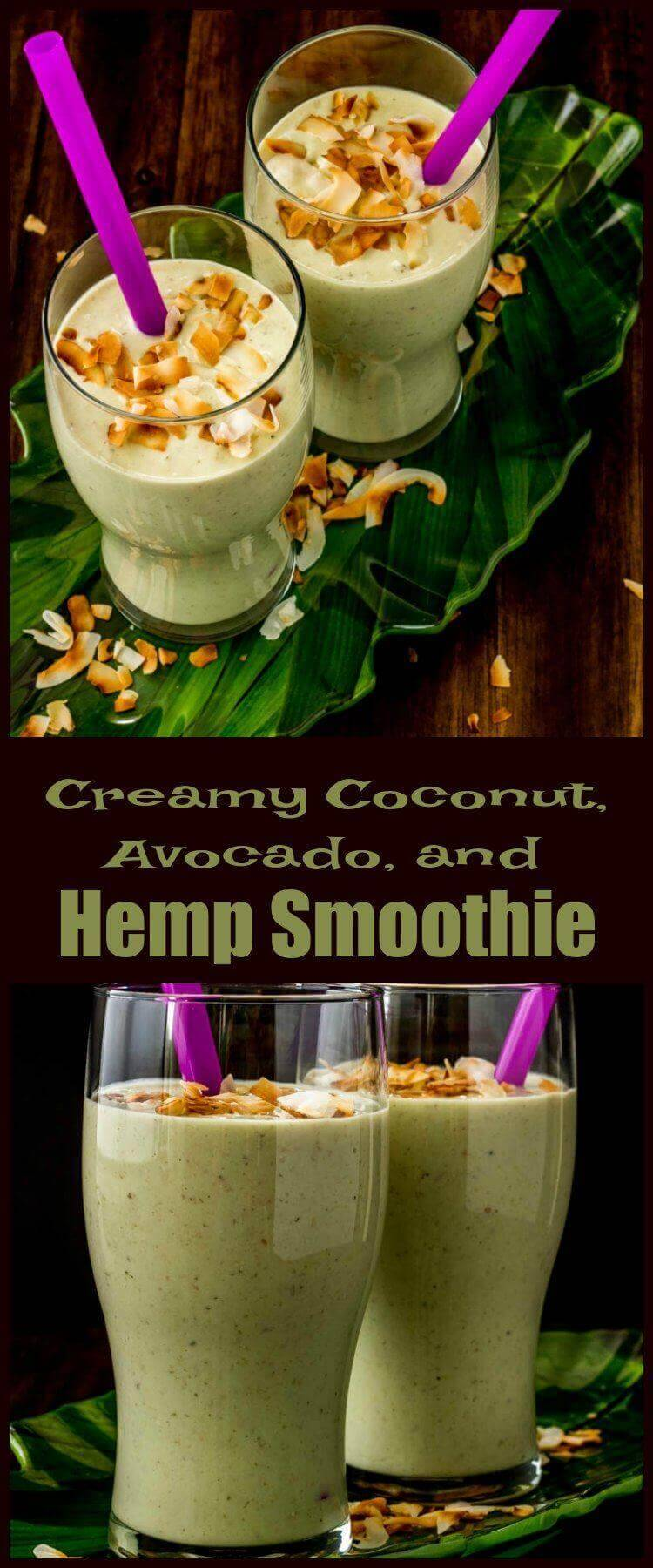 Creamy Coconut, Avocado, and Hemp Smoothie