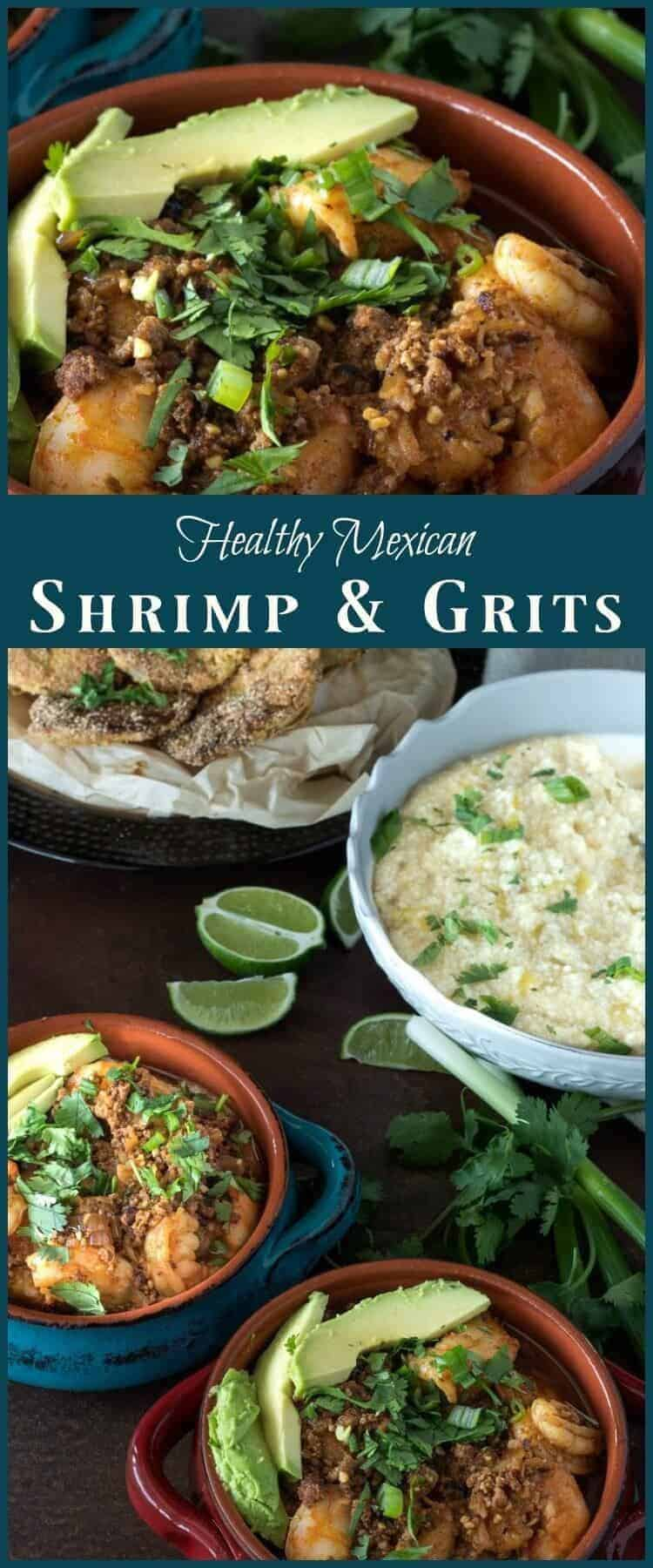 Healthy Mexican Shrimp and Grits - Bold Mexican flavors replace half n half, cream, and andouille in this healthier version of the classic shrimp and grits! healthy Mexican | gluten free recipes | Cinco de Mayo | Gulf shrimp | shrimp recipes