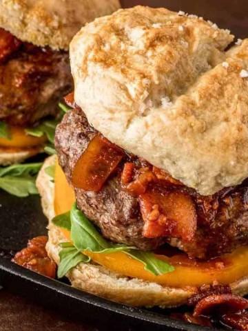 Umami Mushroom Burgers with Bacon Jam close up