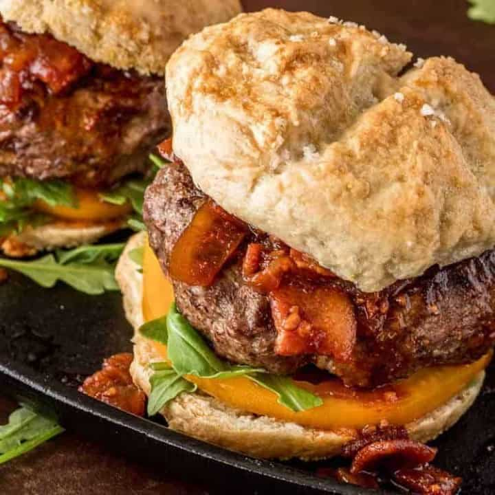 Umami Mushroom Burgers with Bacon Jam close up