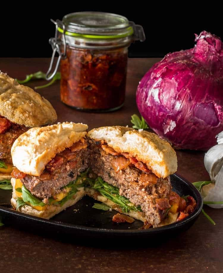 Umami Mushroom Burgers with Bacon Jam cut