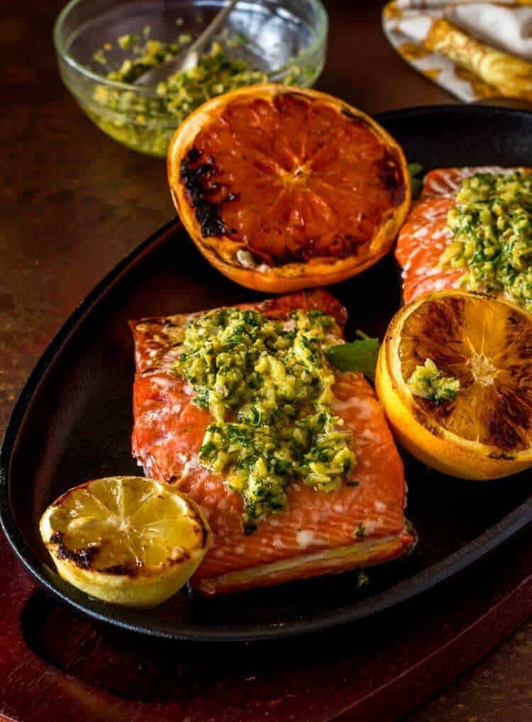 Citrus Gremolata with Grilled Salmon close up