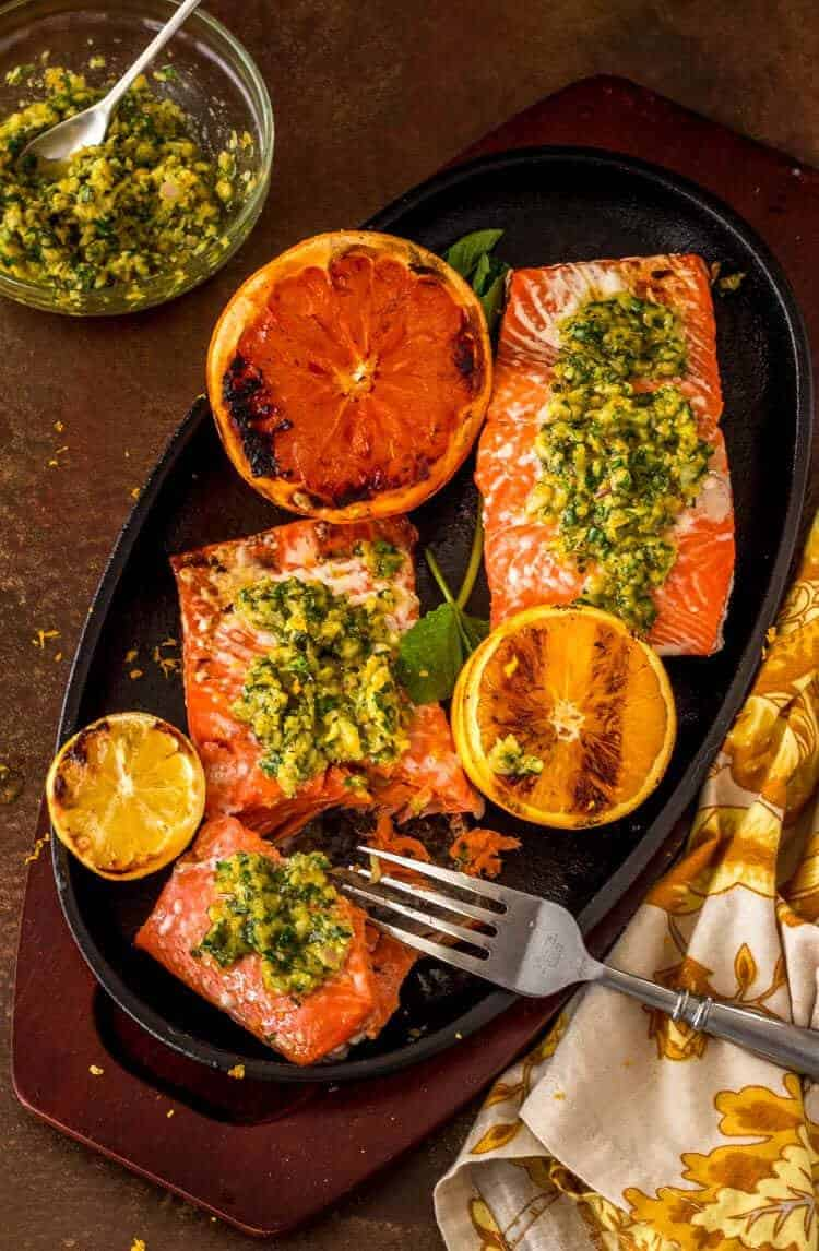 Minty Citrus Gremolata with Grilled Salmon hero