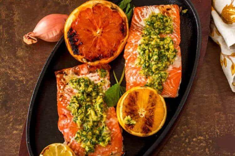 Minty Citrus Gremolata with Grilled Salmon