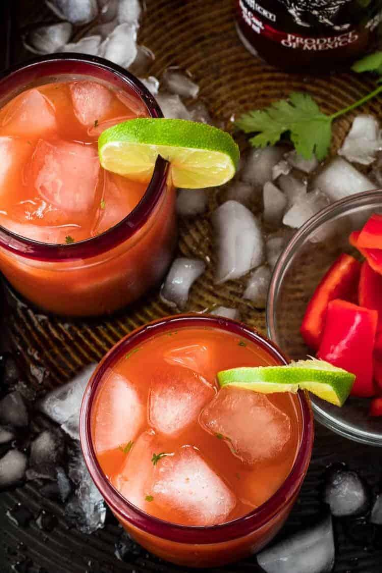 Salsa Sunset: A Savory Margarita bird's eye view
