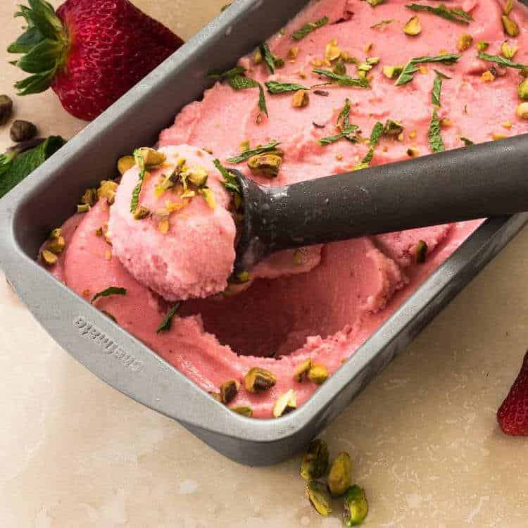 Rose Water and Strawberry Buttermilk Sherbet in pan