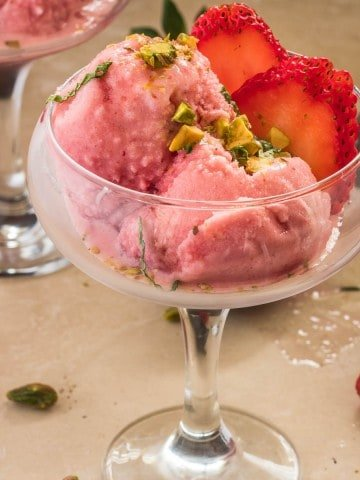 Strawberry and Rose Water Buttermilk Sherbet