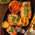 Minty Citrus Gremolata with Grilled Salmon -