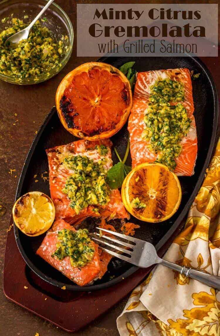 Minty Citrus Gremolata is a fresh twist on the classic Italian gremolata... Its fresh flavors will sing atop a simple grilled salmon steak or fillet! Grilled Salmon | Grilled Fish | Healthy Mains | Gremolata Recipes | Summer Grilling