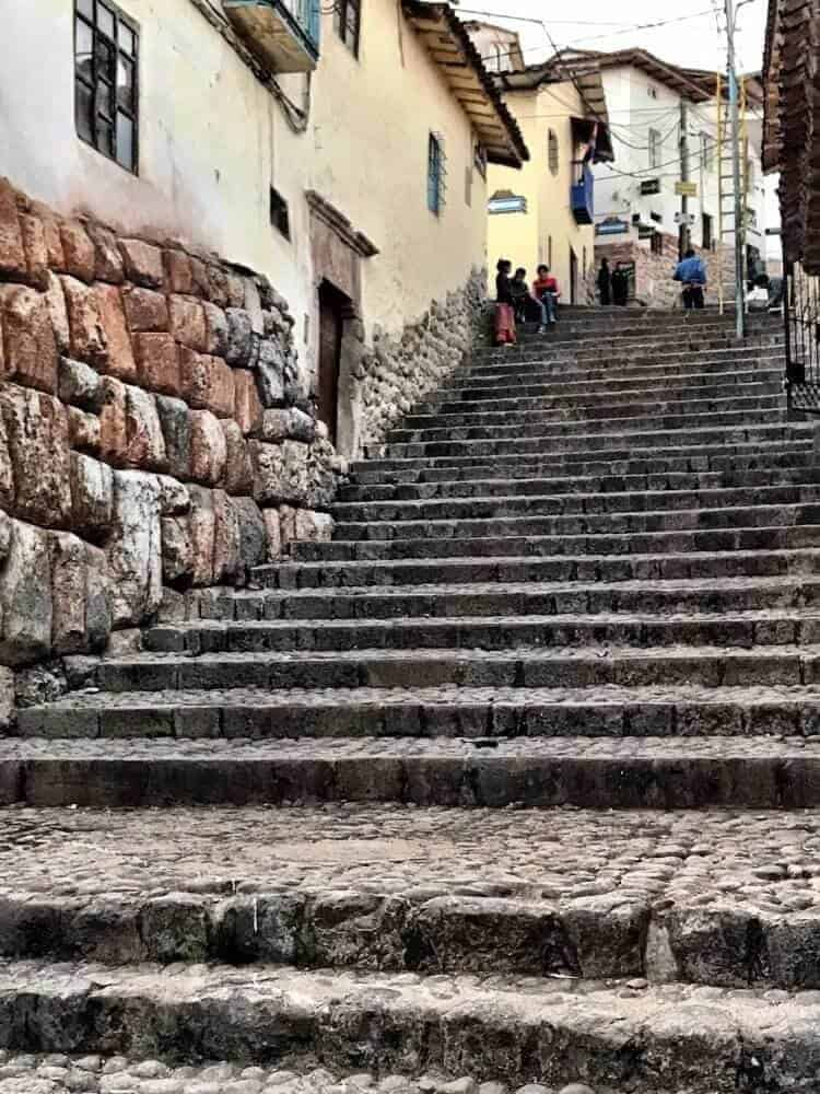 Steep cobblestone steps in Cuzco near our hostel.